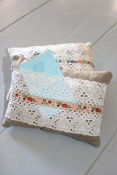 Lavender Filled Gift Sachets With Vintage Lace & Ribbon - Great for Christmas. €8.00, via Etsy.