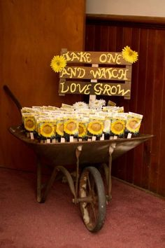 Sunflower Wedding Ideas and Wedding Invitations Sunflowers, wedding favors, wheel barrow, country wedding, fall wedding Sunflower Wedding Favors, Unique Wedding Favors, Trendy Wedding, Perfect Wedding, Our Wedding, Dream Wedding, Fall Wedding, Wedding Rustic, Wedding Gifts