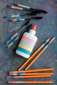 Personalize your school supplies with washi tape! so cute--from unsophisticook.com