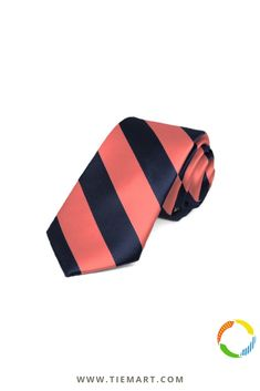 TieMart Navy Blue and Orange Striped Suspenders