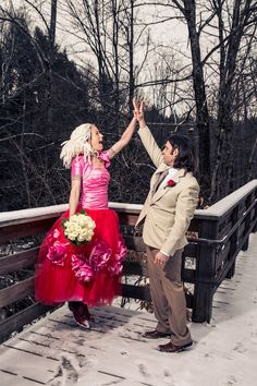 Two-toned wedding dress. Super funky and individualistic. What a fantastic dress and couple!