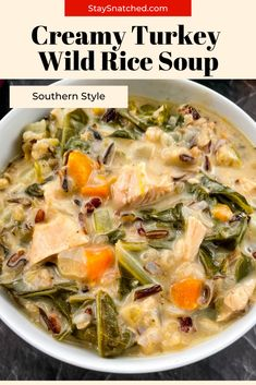 This Leftover Creamy Turkey Wild Rice Soup is a great way to use up any remaining turkey carcass you have on hand. The entire dish is made in one pot with veggies and hearty ingredients. It's freezer-friendly and perfect for meal prep, too! #LeftoverTurkeySoup Easy Rice Recipes, Rice Recipes For Dinner, Healthy Recipes, Turkey Wild Rice Soup, Leftover Turkey Soup, Quick And Easy Soup, Quick Easy Meals, Cooking Wild Rice, Meal Prep Guide