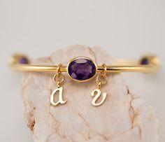 Personalized Charm Bangle  Amethyst Bracelet  Gemstone by delezhen, $48.00