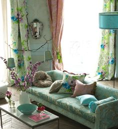 Aqua Green, turqoise, pink, purple, flora