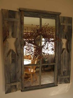 Old window + mirrors + primitive wreath + shutters = A-OK! is creative inspiration for us. Get more photo about home decor related with by looking at photos gallery at the bottom of this page. We are want to say thanks if you like to share this post to another … #PrimDecor #PrimitiveDiningRooms #DIYHomeDecorMirror