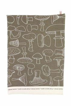 Skinny la Minx, Tea towel Mushroom in Loam (brown), $18 via Etsy