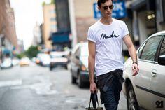 Male model wearing MADE t-shirt