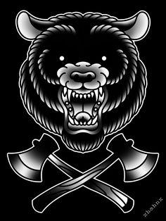 Traditional bear tattoo flash