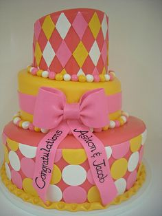Pink and Orange Bridal Shower Cake (240)