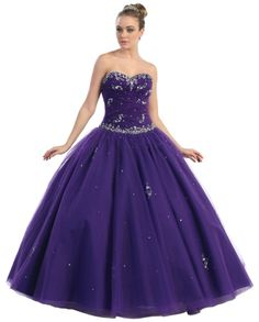 BallGown Sweetheart Tulle Floor-length Purple Beading Quinceanera Dress at sweetquinceaneradress.com