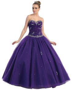 BallGown Sweetheart Tulle Floor-length Purple Beading Quinceanera Dress at sweetquinceaneradress.com