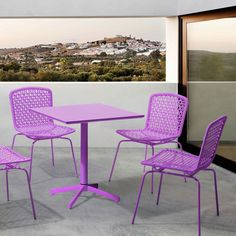 The Sarah Outdoor Dining Chair will add a touch of vibrant color to any modern outdoor dining space. It is availablein purple, lime, aqua, or white.