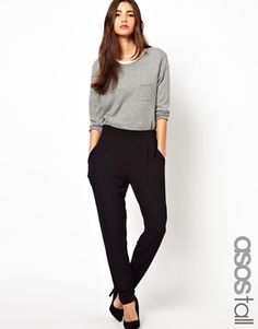 Image 1 of ASOS TALL Peg Trousers In Jersey