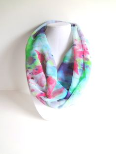 Floral Infinity Scarf.  Blue Spring Scarf. by FashionelleStudio, $27.99