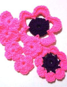 Destash - Grab bag 2, Flowers, Appliques, Embellishments, Acryllic, Crochet Flowers, by GrammaLeas on Etsy