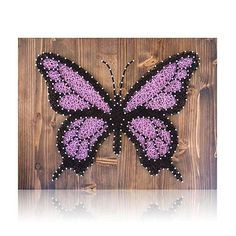 Purple Butterfly String Art Kit String Of The Art - Craft Together This Beautiful Purple Butterfly String Art Kit Show Off Your Artistic Skills To Friends And Family Or Hand Craft With Love This Wonderful Diy Kit For Someone Special String Of The Art String Art Diy, String Crafts, Anchor String Art, String Art Templates, String Art Patterns, Butterfly Kit, Purple Butterfly, Butterfly Dragon, Monarch Butterfly