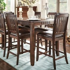 Leopold Traditional Cherry Counter Height 7-piece Extending Dining Set | Overstock.com Shopping - The Best Deals on Dining Sets