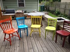 Multiple color dinning chairs