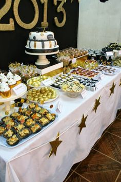 Love this dessert table at a Graduation party!  See more party ideas at CatchMyParty.com!  #partyideas #graduation
