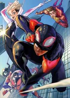 Into the Spider-Verse art from the Japanese release by Yusuke Murata All Spiderman, Spiderman Kunst, Amazing Spiderman, Marvel Characters, Marvel Heroes, Marvel Avengers, Marvel Fan, Captain Marvel, Marvel Comics Art
