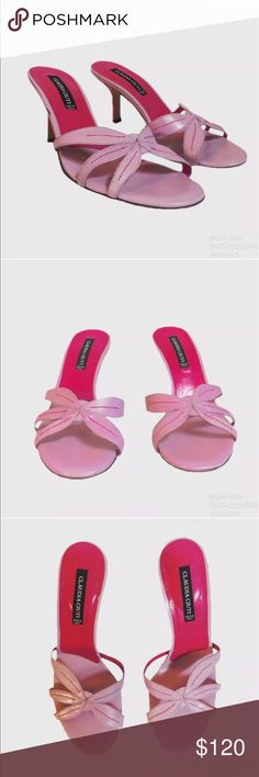 """Claudia Ciuti Sandals Beautiful Italian pink leather with hot pink stitching detail and heel. Heel height 1 1/2""""-2"""". Does have a tiny scuff from storage on right shoe which looks like it'd come off. Claudia Ciuti Shoes"""