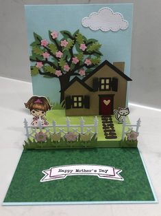 Created By Me - Cristina Victorino Raposo Pop Up card using Karen Burniston Die and YNS and Lawn Fawn Stamps Lawn Fawn Stamps, Pop Up Cards, Happy Mothers, Create, Tri Fold Cards