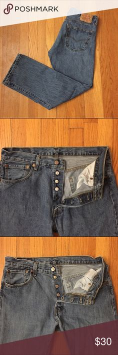 """High-Waisted Vintage Levi's 501 Jeans Style #: 501 Size/Fit Marked: 34x30 Modern Size BEST FIT: 29/8 or 30/10  Apx. measurements when laying flat: 16"""" across waistband 11"""" front rise  28"""" inseam 21"""" across bottom of back pockets Condition: excellent vintage classic high-waisted Levi's! 🎉Check out my closet for other vintage denim in a VARIETY of sizes. Price is firm so bundle for a discount!! Levi's Jeans"""