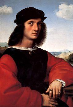 "Raphael: ""Portrait of Agnolo Doni"",1505. (Galleria Palatina (Palazzo Pitti), Florence, Italy.)"
