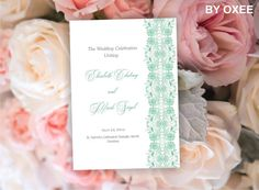 Printable Wedding ceremony program template Vintage Mint by Oxee, $8.00