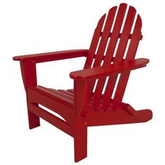 Classic Sunset Red Folding Adirondack Patio Chair