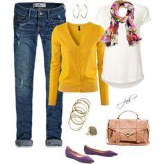 Purple Flats and Mustard Cardi :)