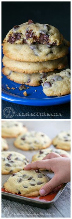 Soft Chocolate Chip Cookies - These chocolate chip cookies stay soft for days. Chocolatey good and not overly sweet. Cookie Desserts, Just Desserts, Cookie Recipes, Delicious Desserts, Dessert Recipes, Yummy Cookies, Yummy Treats, Sweet Treats, Cheese Cookies