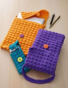 Buy Yarn Online and Find Crochet and Knitting Supplies and Patterns Crochet Case, Crochet Phone Cases, Crochet Purses, Crochet Gifts, Free Crochet, Crochet Tablet Cover, Accessoires Barbie, Accessoires Iphone, Knitting Patterns Free