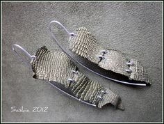Faux Croc Leather earrings by Saskia Veltenaar. Made from polymer clay.