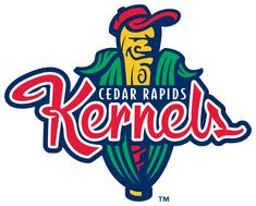 Cedar Rapids Kernels Primary Logo (2007) - Yellow baseball bat in place of a corn kernel behind team name
