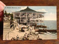 OLD POSTCARD BATHERS AT MACATAWA HOLLAND MICHIGAN MI