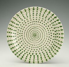 Kelp Leaf Green Plate Hand Painted Spiral Dots by owlcreekceramics, $20.00