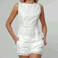 Keeping it simple and classy with a white linen peplum top Kurta Designs, Blouse Designs, Summer Outfits, Casual Outfits, Designer Kurtis, Sewing Clothes, Dress Clothes, Blouse Styles, White Fashion