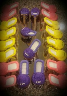 High heel shoes. Lemon cupcakes.