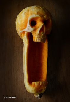A screaming skull carved from a butternut squash.  Gruesome and awesome.