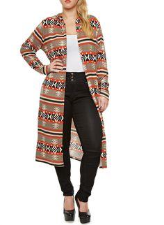 Rainbow Plus Size Striped Aztec Print Duster Cardigan with Hood Rainbow Shop, Dusters, Sweater Jacket, Sweater Fashion, Aztec, Curves, Plus Size, Stylish, Lady