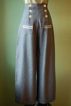 1930's 1940's vintage style light blue denim sailor high waist pants ! #vintage Nice wide, relaxed legs.