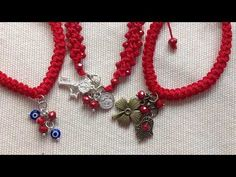 !!!!!PULSERAS ROJAS EN CROCHET!!!! - YouTube Crochet Bracelet, Bead Crochet, Diy Jewelry, Jewelry Design, Jewelry Making, Jewellery, Braided Bracelets, Cuff Bracelets, Finger Crochet