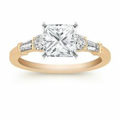 Designed for me! This classic engagement ring crafted in quality 14 karat yellow gold boasts two baguette diamonds, at approximately .15 carat TW, and two round diamonds, at approximately .22 carat TW.  The total carat weight of these hand-matched gems, is approximately .37 carat. Shown with a center stone Princess Cut Diamond.