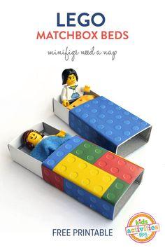 Lego Matchbox Beds - with a free printable | MollyMooCrafts.com for @Holly Hanshew Hanshew Hanshew Homer