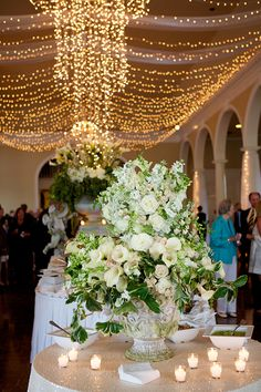 Giant floral arrangement with twinkle lights