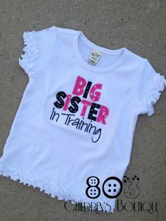 Sibling Big Sister In Training HPB   This listing is for a custom Big Sister in Training shirt. This design is machine embroidered directly on to the shirt. No stickers or iron ons used at our shop.   You can add a M2M (made to match) hair bow during checkout if you like.   Comes in sizes:  Onesies: 0-3 month, 3-6 month, 6-12month  Shirt: 12m, 18m, 24m 3T, 4T 5/6, 6x, S, M, L