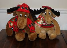 Moostletoe & Holly Pair of Vintage Stuffed Animals w/ Hang Tags/Story Books, 1987 Commonwealth Toy, Moose Plush, Christmas Decor, Holiday, by ThingsNStuffYouNeed on Etsy https://www.etsy.com/listing/259828379/moostletoe-holly-pair-of-vintage-stuffed