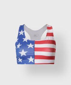 AMERICAN FLAG SPORTS BRA #4thOfJulyRunningGear #TeamSparkle
