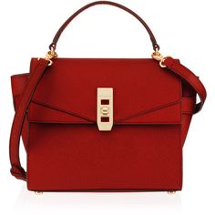 Henri Bendel Uptown Mini Satchel ($330) ❤ liked on Polyvore featuring bags, handbags, purses, bolsas, red, mini handbags, handbag purse, red hand bags, red satchel handbag and red handbags